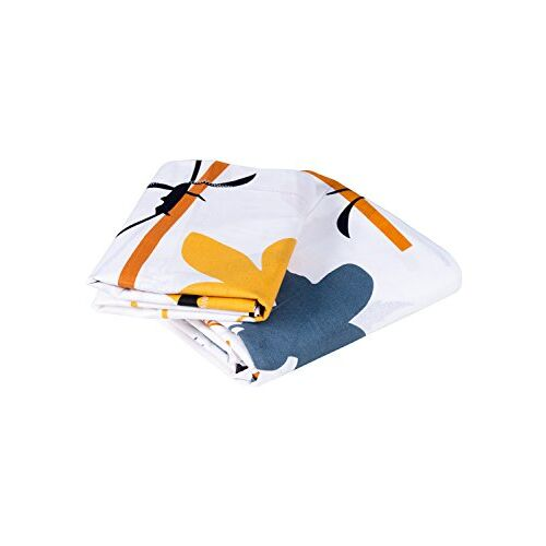 Story@Home Super-Soft Beautiful Tropical Patterns Vibrant Colors 100% Cotton Double Bed Sheet and 2 Pillow Covers (Yellow and White)