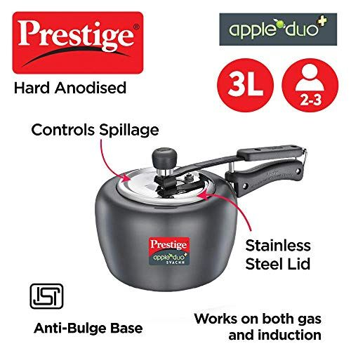 Prestige Apple Duo Plus Svachh Hard Anodised Pressure Cooker, 3.0 L