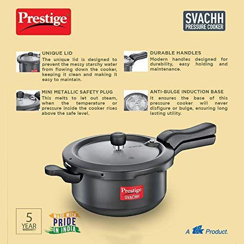 Prestige Svachh, 20278, 5 L, Sr. Pressure Pan, with deep lid for Spillage Control