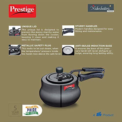 Prestige Svachh, 10759, 2 L, Hard Anodised Aluminium Handi, with deep lid for Spillage Control