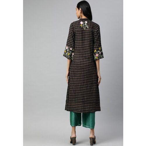 Jaipur Kurti Women Black & Gold-Toned Embroidered A-Line Kurta