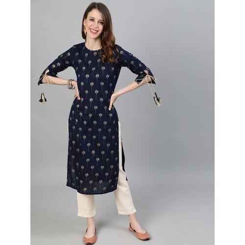 Jaipur Kurti Navy Blue Printed Knee Length Straight Kurta