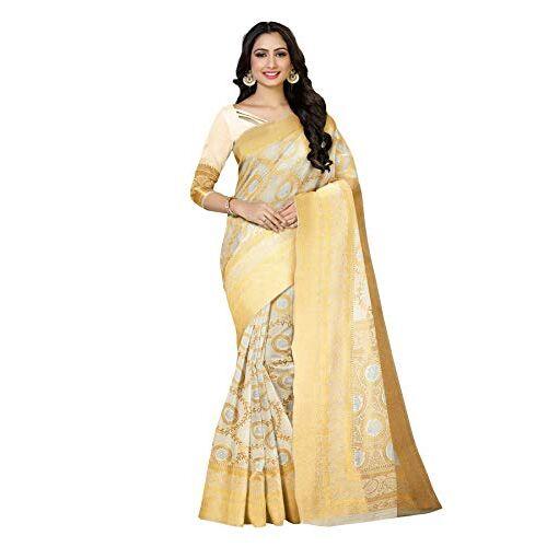 MIMOSA Women's Color Art Silk Kasavu Saree (Off White)
