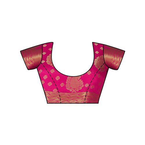 Mimosa temple border paisley kanjivaram saree with blouse