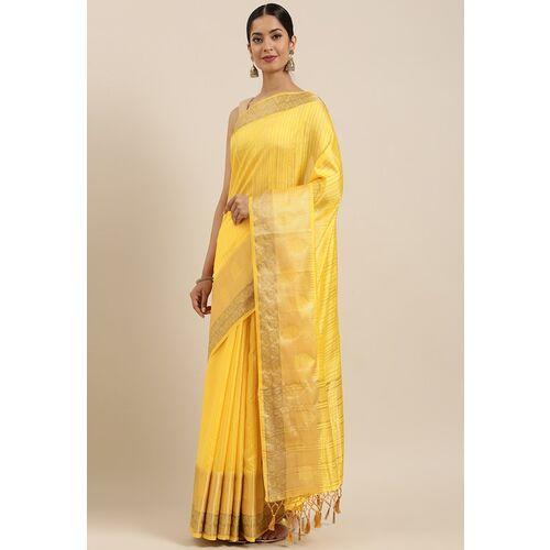 MIMOSA Yellow Art Silk Solid Kanjeevaram Saree
