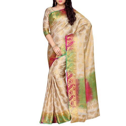 Mimosa beige art silk kanjivaram saree with blouse