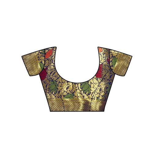 Mimosa floral zari motif kanjivaram saree with blouse
