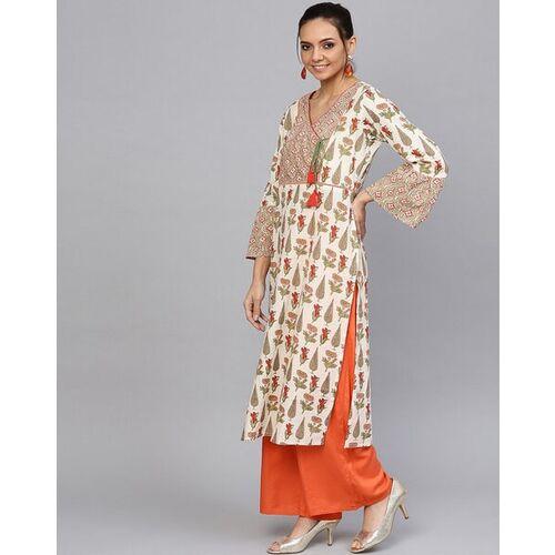 Jaipur Kurti Floral Print Straight Kurta with Flounce Sleeves