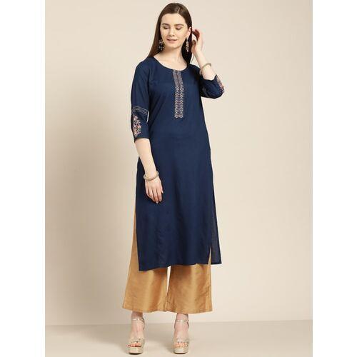Jaipur Kurti Women Solid Straight Kurta(Blue)