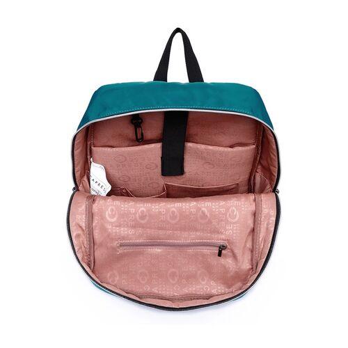 Caprese Women Blue Solid TEFE Backpack