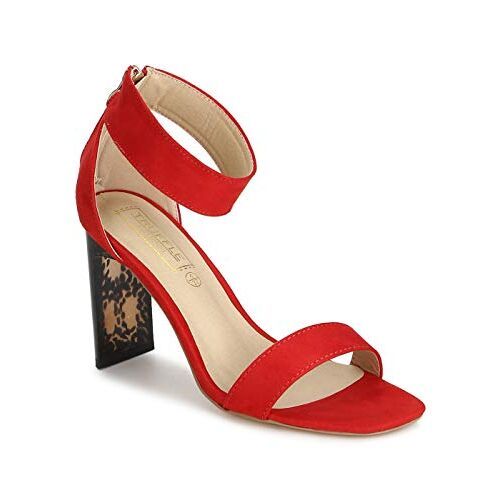 TRUFFLE COLLECTION Women's KASH1 Red Suede Fashion Sandals