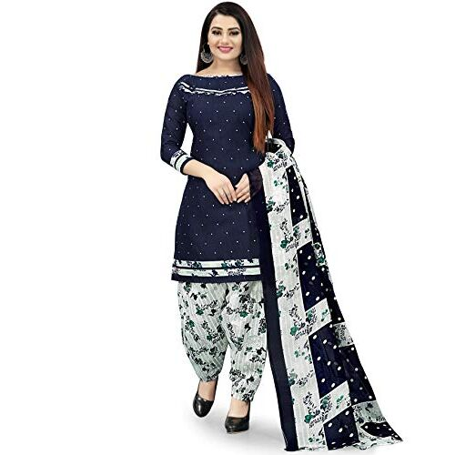 Rajnandini Women's Navy Blue Cotton Printed Unstitched Salwar Suit Material