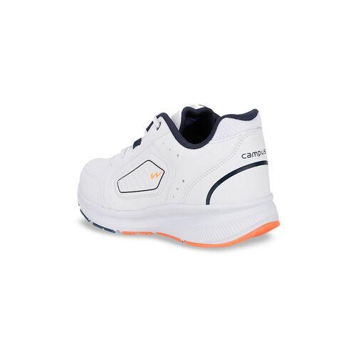 Campus Men White & Navy Blue Mesh Running Shoes