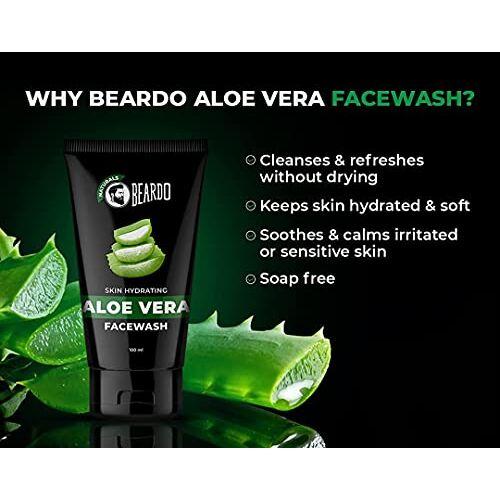 Beardo Naturals Skin Hydrating Aloe Vera Facewash, 100 ml   Face Wash for Men   Soap Free   Sulfate Free   Paraben Free   Made in India
