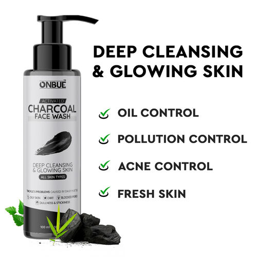 Onbue Activated Charcoal Face wash Deep Cleansing For Men Women, 100ml