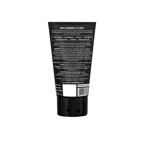 Man Arden 7X Activated Charcoal Brightening Face Wash - 100 ml