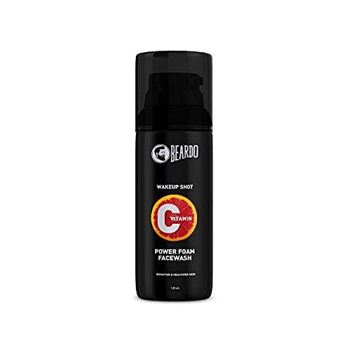 Beardo Skin Brightening Vitamin C Power Foam Face Wash for Men | Ultra Foaming Facewash for Instant Glow & Spot Reduction | Daily use for youthful skin |