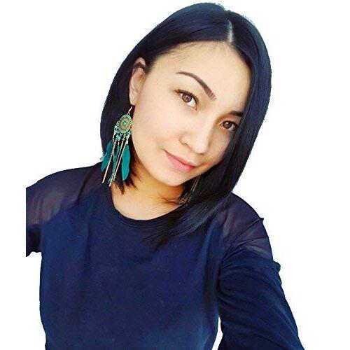 Shining Diva Fashion Women's Blue Non Precious Metal Feather Stylish Tassel Earrings (9523er)