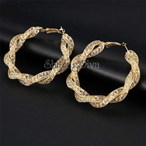 Shining Diva Fashion Latest Design Stylish Party Wear Crystal Gold Plated Hoop Earrings for Women (Golden, 10795er)
