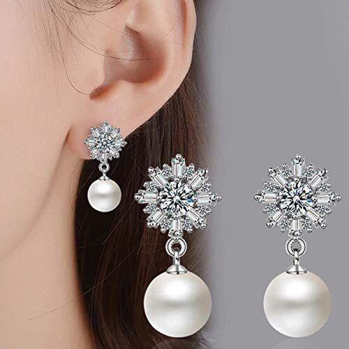 Shining Diva Latest Design Crystal Pearl Silver Plated Dangler Earrings Pearl Crystal Drops & Danglers