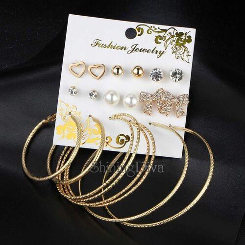 Shining Diva 9 Pairs Combo Latest Design Stylish Crystal Pearl Stud Hoop Earrings Cubic Zirconia Alloy Hoop Earring