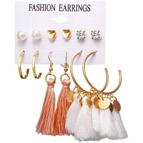 Shining Diva Latest 6 Pairs Combo Stylish Tassel Studs Earrings Cubic Zirconia Alloy Stud Earring, Tassel Earring