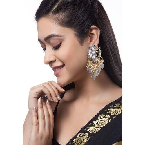 Shining Diva Grey & Gold-Toned Floral Drop Earrings