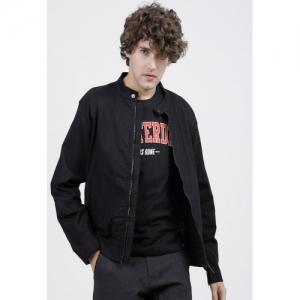 HIGHLANDER Black Cotton Solid Full Sleeve Bomber Jacket