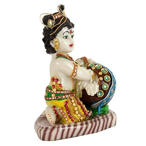 Tied Ribbons Lord Krishna Makhan Chor Idol Sculpture Decorative Statue Figurine Showpiece for Pooja Room Temple Shelf Showcase Table Home Decoration and House