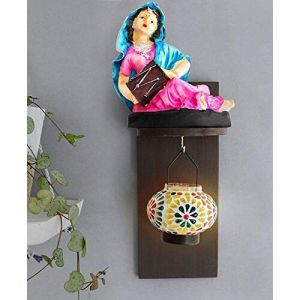 Tied Ribbons TiedRibbons Rajasthani Women figurine and hanging tealight holder with Wall Hanging Wooden Shelf handicraft sculptures showpiece statue figurines items for w