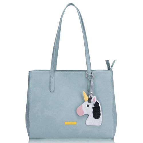 Caprese Blue & Silver-Toned Solid Shoulder Bag with Unicorn Tab Detail