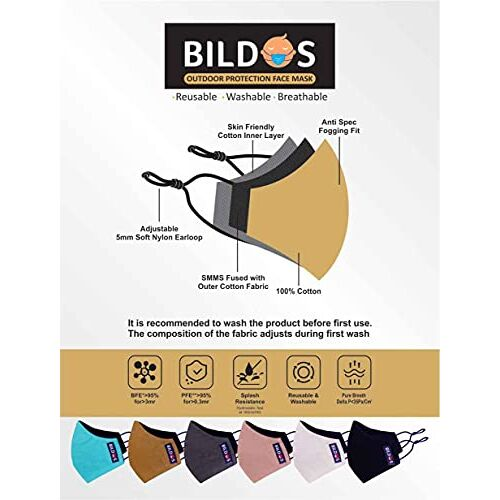 Bildos Pure Cotton Cloth Face Masks for Travel and Outdoor Protection mask reusable and washable (Pack of 6)