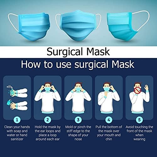 DEEJET 3 Ply Disposable Surgical Face Mask Protective layer (Pack of 50) For Men And Women | Use and Throw Face Masks