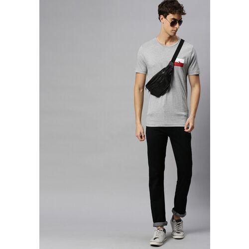 Tommy Hilfiger Men Grey Melange Pure Cotton Printed Round Neck T-shirt