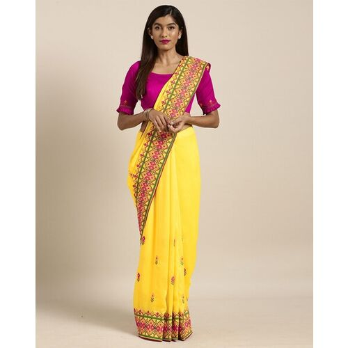 Kvsfab Georgette Embroidered Saree with Unstitched Blouse