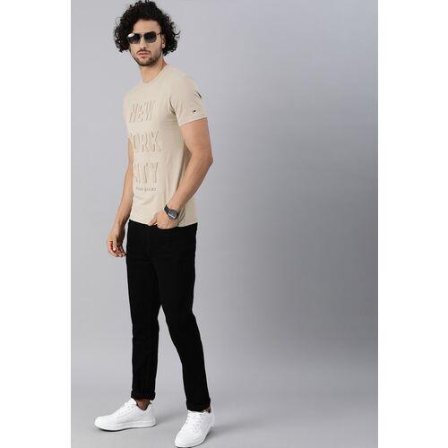 Tommy Hilfiger Men Beige Printed Round Neck T-shirt