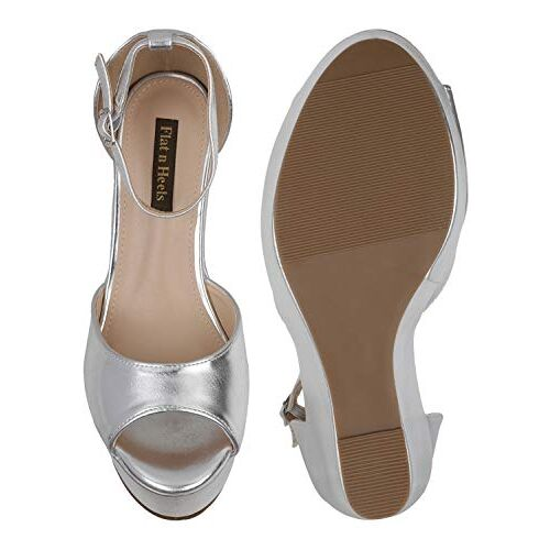 Flat n Heels Womens Silver Heeled Sandals FnH 8316-30-SIL