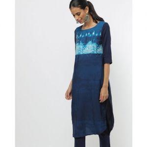 W for Woman W Women Printed Straight Kurta(Blue)