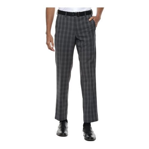 Van Heusen Grey Regular Fit Flat Front Trousers