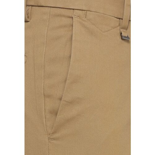 Van Heusen Men Khaki Slim Fit Self Design Formal Trousers