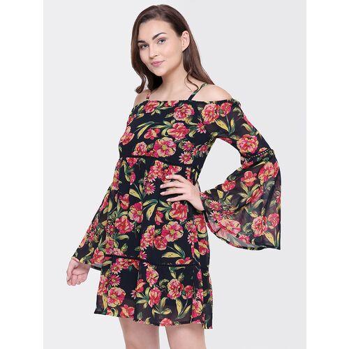 bell sleeved floral printed dress