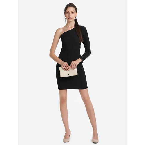 single sleeved solid bodycon dress