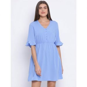 flute sleeves solid a-line dress