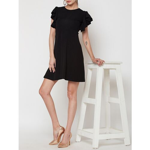 Addyvero ruffled sleeved flared dress