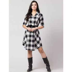 tie front checkered a-line dress