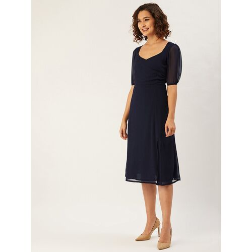 Anvi puff sleeved solid a-line dress