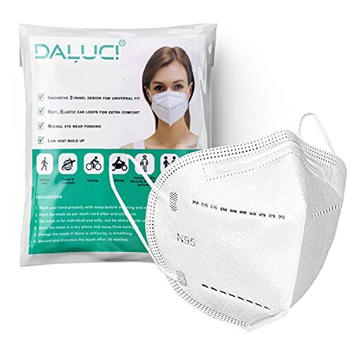 Daluci Non-Woven 5 Layered Reusable Washable N95 Mask For Men And Women (Pack Of 10),White, Without Valve, Nonwoven Fabric, Reuseable Mask