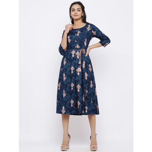 tie front printed a-line dress