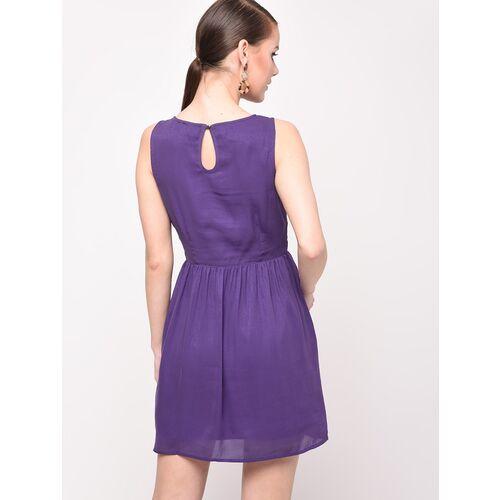 frill trim pleated a-line dress