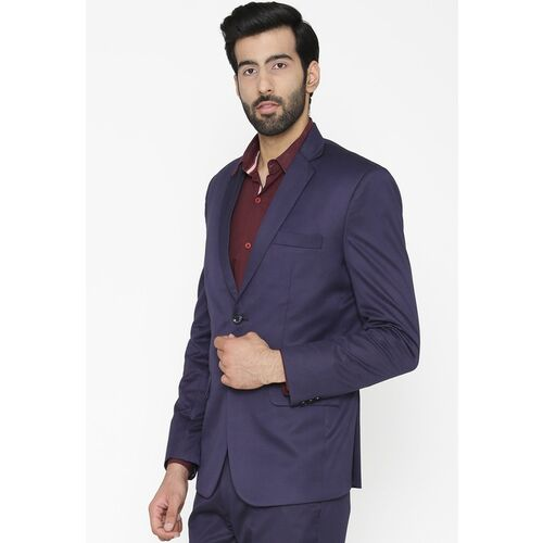 Wintage Men Navy Blue Solid Tailored Fit Single-Breasted Formal Blazer